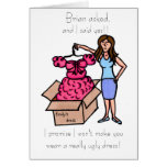 will you be my bridesmaid (brunette) greeting card