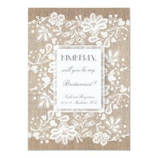Will You Be My Bridesmaid Burlap and Lace Wedding Card