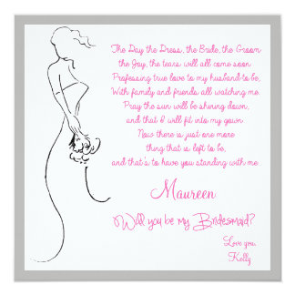 Will you be my Bridesmaid? Card 13 Cm X 13 Cm Square Invitation Card