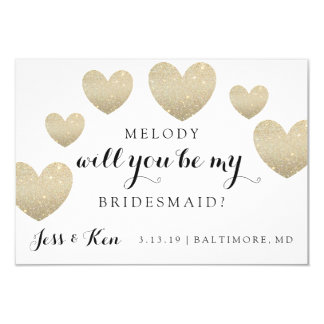 Will You Be My Bridesmaid Card - Fab Hearts 9 Cm X 13 Cm Invitation Card