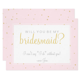 Will You Be My Bridesmaid Card - Gold Dots Pink