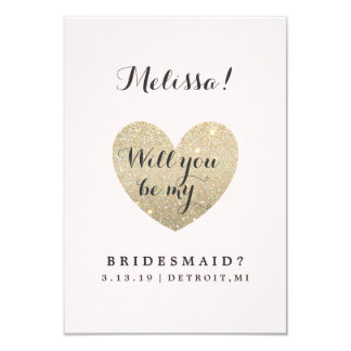Will You Be My Bridesmaid Card - Heart Fab 9 Cm X 13 Cm Invitation Card