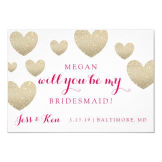 Will You Be My Bridesmaid Card - Hearts