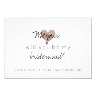Will You Be My Bridesmaid Card - Heart's Fab 2 RG 9 Cm X 13 Cm Invitation Card