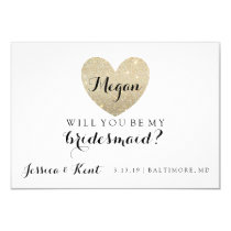 Will You Be My Bridesmaid Card - Heart's Fab 9 Cm X 13 Cm Invitation Card