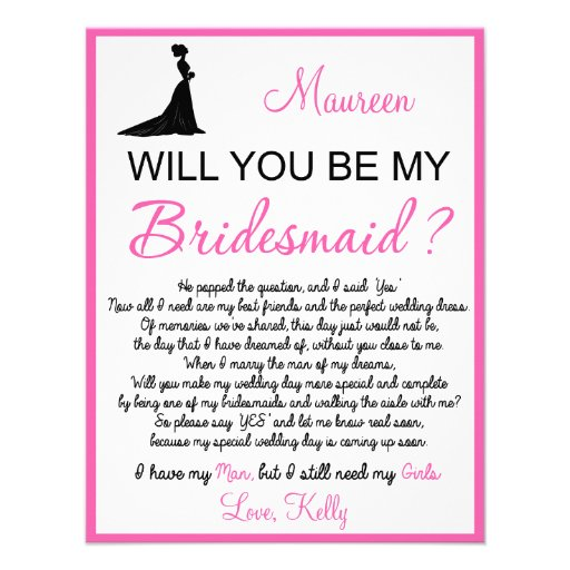 Will you be my Bridesmaid? Card Personalized Announcements