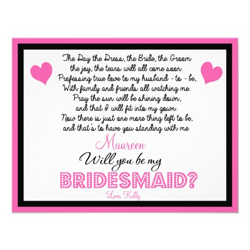 Will you be my Bridesmaid? Card Custom Announcements