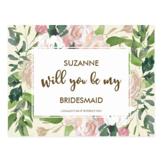 Will you be my bridesmaid card personalized postcard