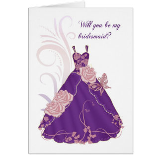 Will You Be My Bridesmaid Card - Purple
