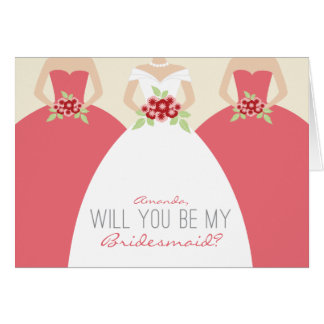 Will You Be My Bridesmaid Card rose pink
