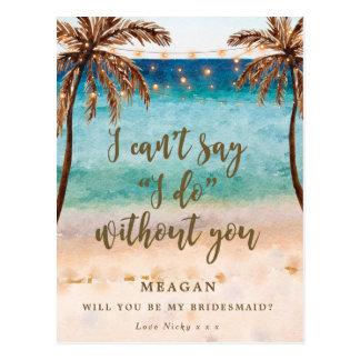 Will you be my bridesmaid card tropical beach