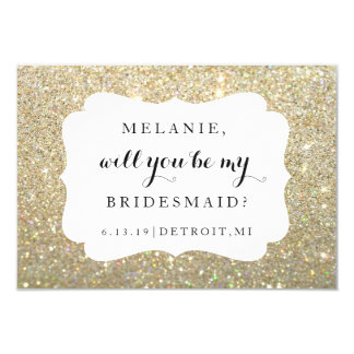 Will You Be My Bridesmaid Card - Wedding Day Gold 9 Cm X 13 Cm Invitation Card