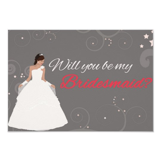 Will you be my bridesmaid card white fancy