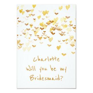 Will You Be My Bridesmaid? Confetti Golden Hearts 9 Cm X 13 Cm Invitation Card