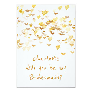Will You Be My Bridesmaid? Confetti Golden Hearts Card
