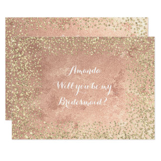Will You Be My Bridesmaid  Copper Gold Confetti Card