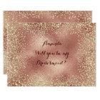 Will You Be My Bridesmaid Copper RoseGold Confetti Card