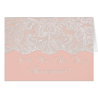 will you be my bridesmaid coral card