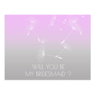 Will You Be My Bridesmaid Dandelion Lavanda Ombre Postcard