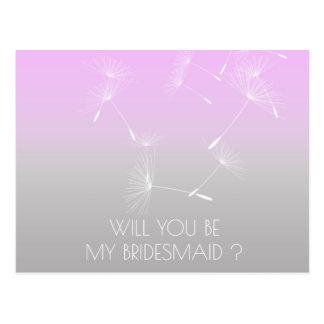Will You Be My Bridesmaid Dandelion Lavanda Ombre Postcard
