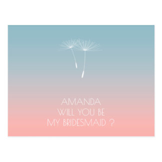 Will You Be My Bridesmaid Dandelion Powder Blue Postcard