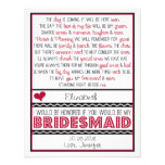 Will you be my Bridesmaid? Deep Red/Black Poem Custom Invites