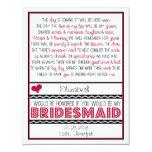 Will you be my Bridesmaid? Deep Red/Black Poem V2 11 Cm X 14 Cm Invitation Card