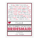 Will you be my Bridesmaid? Deep Red/Black Poem V2 Custom Invites