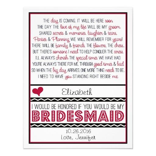 Will you be my Bridesmaid? Deep Red/Black Poem V2 Custom Invitations