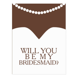 Will You Be My Bridesmaid Dress and Pearls Postcard