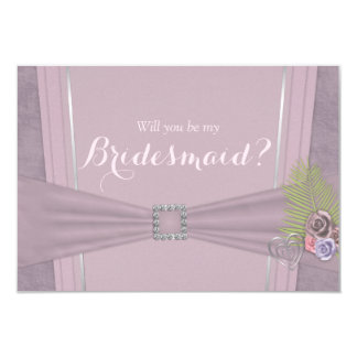 Will you be my bridesmaid dusty plum and floral card
