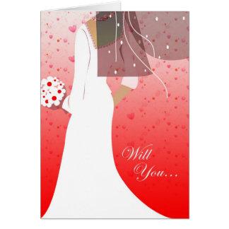 will you be my bridesmaid? : elegant bride greeting card