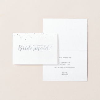 Will You Be My Bridesmaid? Elegant Confetti Silver Foil Card