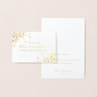 Will You Be My Bridesmaid? Elegant Swirl Foil Card