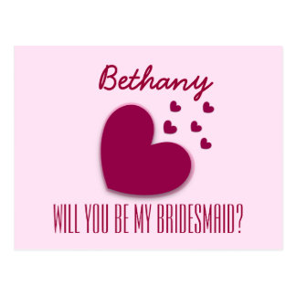 Will You Be My Bridesmaid Explosion of Hearts V02A Postcard