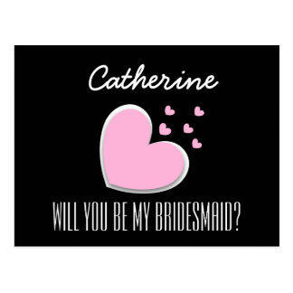 Will You Be My Bridesmaid Explosion of Hearts V02D Postcard
