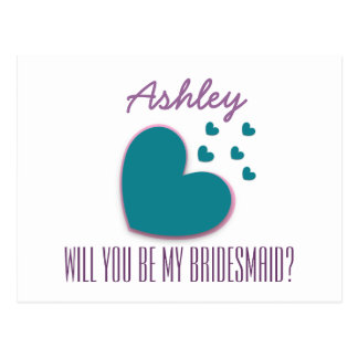 Will You Be My Bridesmaid Explosion of Hearts V05 Postcard