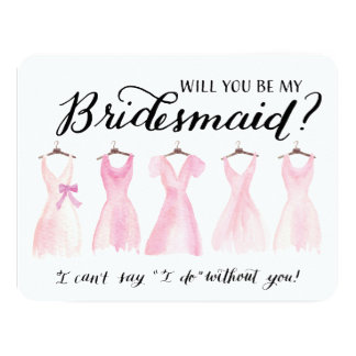 Will You Be My Bridesmaid Five Dresses Pink Card