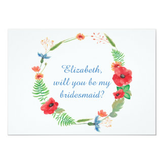 """Will you be my bridesmaid"" floral invitation"