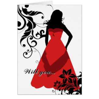 will you be my bridesmaid? : flowered silhouette : greeting card