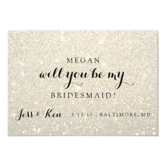 Will You Be My Bridesmaid - Glit Fab -WhiteGold 9 Cm X 13 Cm Invitation Card