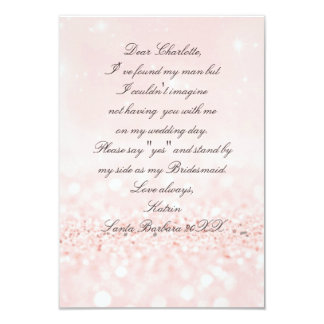 Will You Be My Bridesmaid? Glitter Blush Pink Card