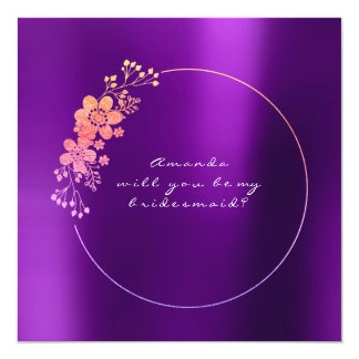 Will You Be My Bridesmaid Gold Foxier Purple Card