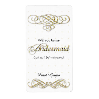 Will You Be My Bridesmaid Gold Glitter Wine Shipping Label