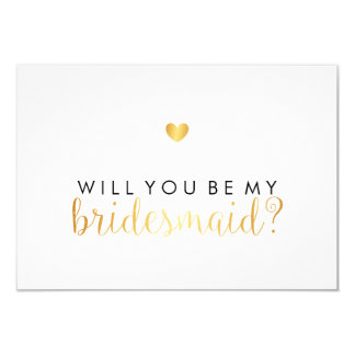 WIll You Be My Bridesmaid - Gold Heart Script Fab Card