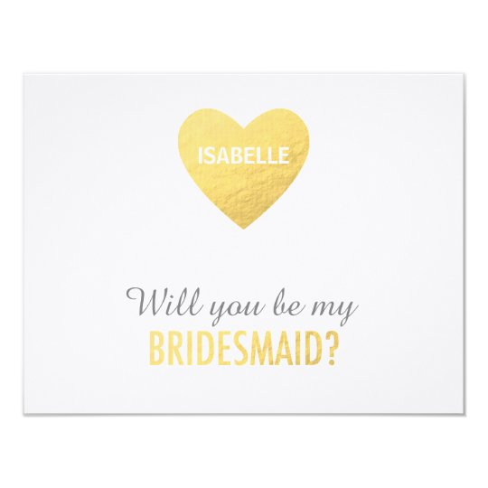 Will you be my bridesmaid, gold heart template card