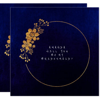Will You Be My Bridesmaid Gold Navy Velvet Card