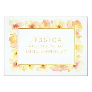 Will You Be My Bridesmaid Gold Peaches & Cream Card