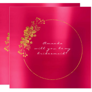 Will You Be My Bridesmaid Gold Raspberry Candy Card