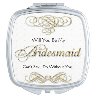 Will You Be My Bridesmaid Gold Scroll Vanity Mirror